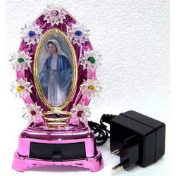 Cupola luminosa rosa con Madonna Miracolosa cm 18x10x6.5