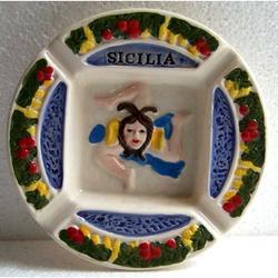 Posacenere Trinacria in ceramica cm 12