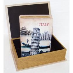 Cassetta libro torre di Pisa in legno set da 2 pezzi