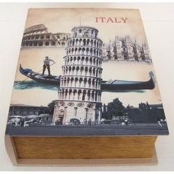 Cassetta libro torre di Pisa in legno 35x26x10 cm