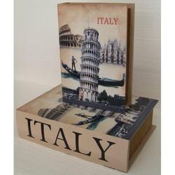 Cassetta libro torre di Pisa in legno 20x29x6 cm