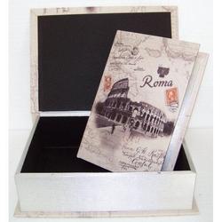 Cassetta libro Colosseo Roma in legno 35x26x10 cm