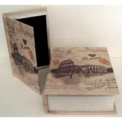 Cassetta libro Colosseo Roma in legno 20x29x6 cm