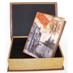 Cassetta libro Venezia in legno set da 2 pz