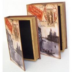 Cassetta libro Venezia in legno 20x29x6 cm