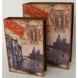 Cassetta libro Venezia in legno 35x26x10 cm