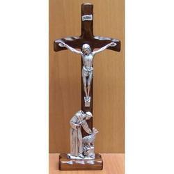 Crocifisso in legno e metallo argentato cm 31x12