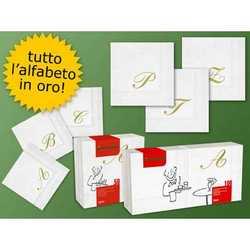 Tovaglioli Bianchi Stampa Oro Con Lettera D Cm. 25x25 Pz. 20