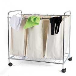Carrellino biancheria con 3 sacchi removibili
