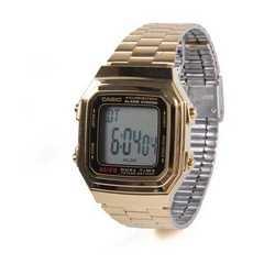 Orologio digitale Casio in metallo dorato con display retroillum