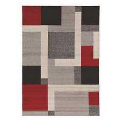 Tappeto casa grey riquadri grigio rosso 200 x 300 cm vendita online fabbrica produzione ingrosso - Tappeto bagno rosso ...