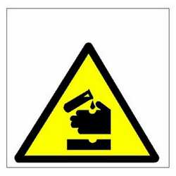 Pittogramma adesivo pericolo corrosivi