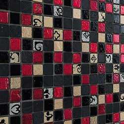Mosaico RED & DARK 30X30 nero, grigio, rosso, oro