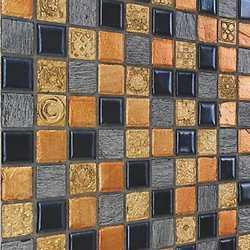 Mosaico Sun & dark 30X30 nero, arancione, grigio, oro