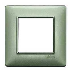 Placca 2 moduli Vimar Plana verde metallizzato