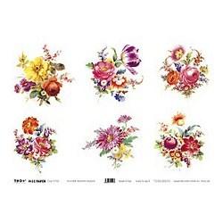 Carta di riso Romantic Bouquets fiori di campo 35 x 50 cm