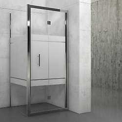 Porta doccia Elyt pieghevole serigrafato/cromo 96-102 cm