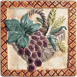 Piastrella con decoro Perù Frutta Calcao rosso