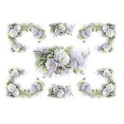 Carta di riso Romantic Roses 35 x 50 cm