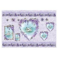 Carta di riso Swans & Wisteria cigni 35 x 50 cm