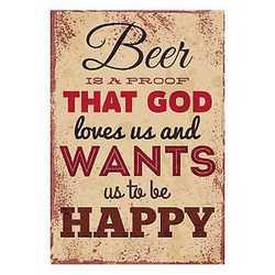 canvas Beer metal sign 24x35