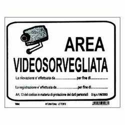 Targa adesiva area videosorv.