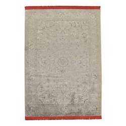Tappeto Extension frangia rossa grigio 160 x 230 cm