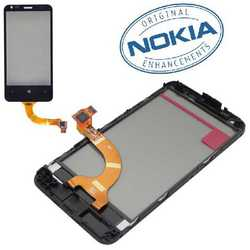 Touch screen vetro originale per Nokia Lumia 620 con frame e cor