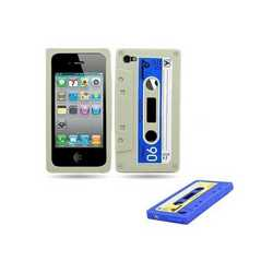 Cover in silicone a cassetta retro' per iPhone 4, 4S