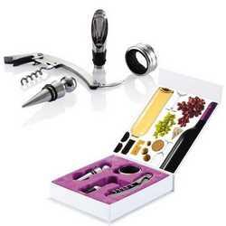 Cofanetto set vino sommelier con 4 accessori