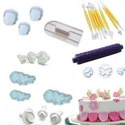 Set con 25 stampi ed accessori ad espulsione per cake design con