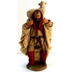 Personaggio per Presepe Pastore cm 15 terracotta e stoffa
