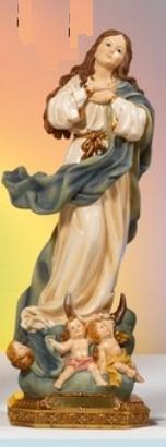 Statua Madonna Immacolata Assunta al Murillo in resina cm 32