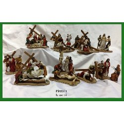 Set Statue Via Crucis con 14 scene in resina