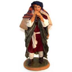 Personaggio per Presepe Pifferaio cm 22 terracotta e stoffa