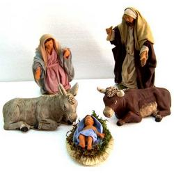 Presepe 5 personaggi in terracotta con abiti in stoffa cm 15