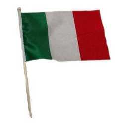 Bandiera Mini Italia Asta Legno Cm 21x31