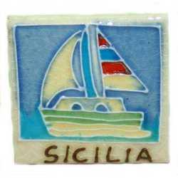Magnete Ceramica Barca Sicilia Cm 5