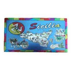 Magnete Rettangolare Cartina Sicilia Cm 9x13