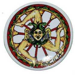 Magnete Ceramica Piattino Trinacria Ruota Cm 5