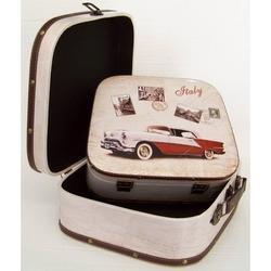 Valigia macchina auto d'epoca cadillac in legno set da 2 pz