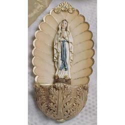 Acquasantiera con Madonna di Lourdes cm 14 in resina