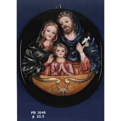 Acquasantiera con Sacra Famiglia cm 20.5 in resina