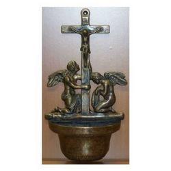 Acquasantiera croce in ottone cm 31x16