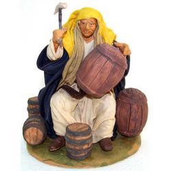 Personaggio per Presepe Bottaio cm 15 terracotta e stoffa