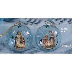 Ampolla di vetro blu con Nativita resina cm 10.5 Set 2 pz ass
