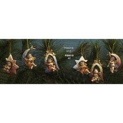 Set 6 Angeli Musicanti da appendere cm 7 in resina