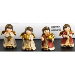 Set Angeli spiritosi natalizi pz.4 assortiti in resina da cm 8