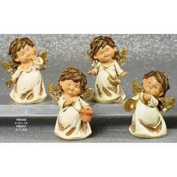 Angeli con strumenti 4 pezzi assortiti in resina da cm 12