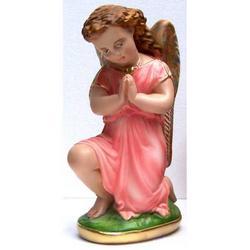 Statua Angelo Custode in ginocchio bimba rosa cm 25 gesso